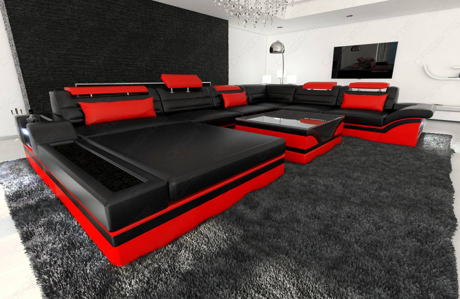 Design Sectional Sofa Mezzo Xxl With Led Lights Black Red | Ebay pertaining to Red Black Sectional Sofa (Image 9 of 30)