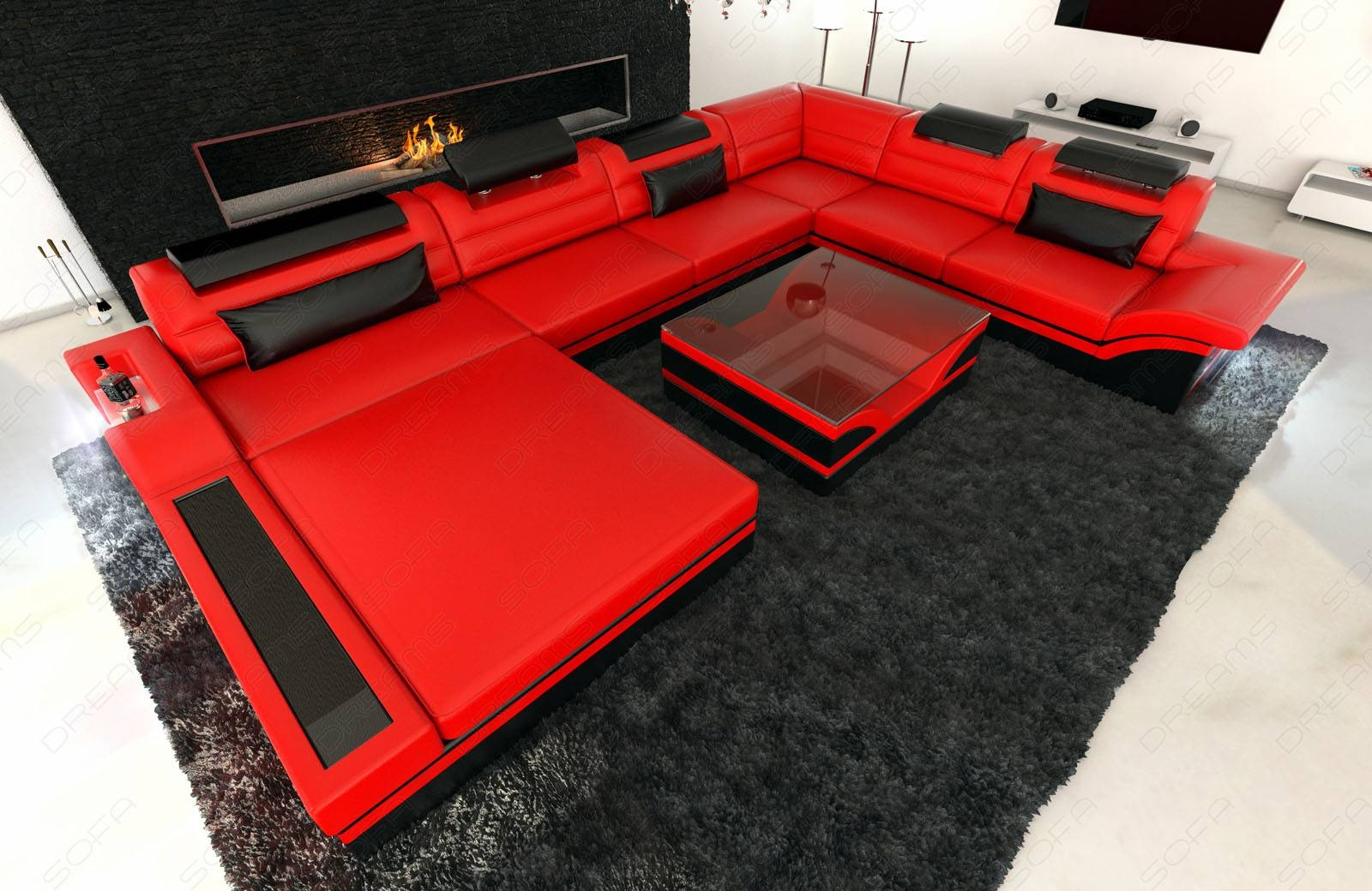 Design Sectional Sofa Mezzo Xxl With Led Lights Red Black | Ebay throughout Sofas With Lights (Image 8 of 30)