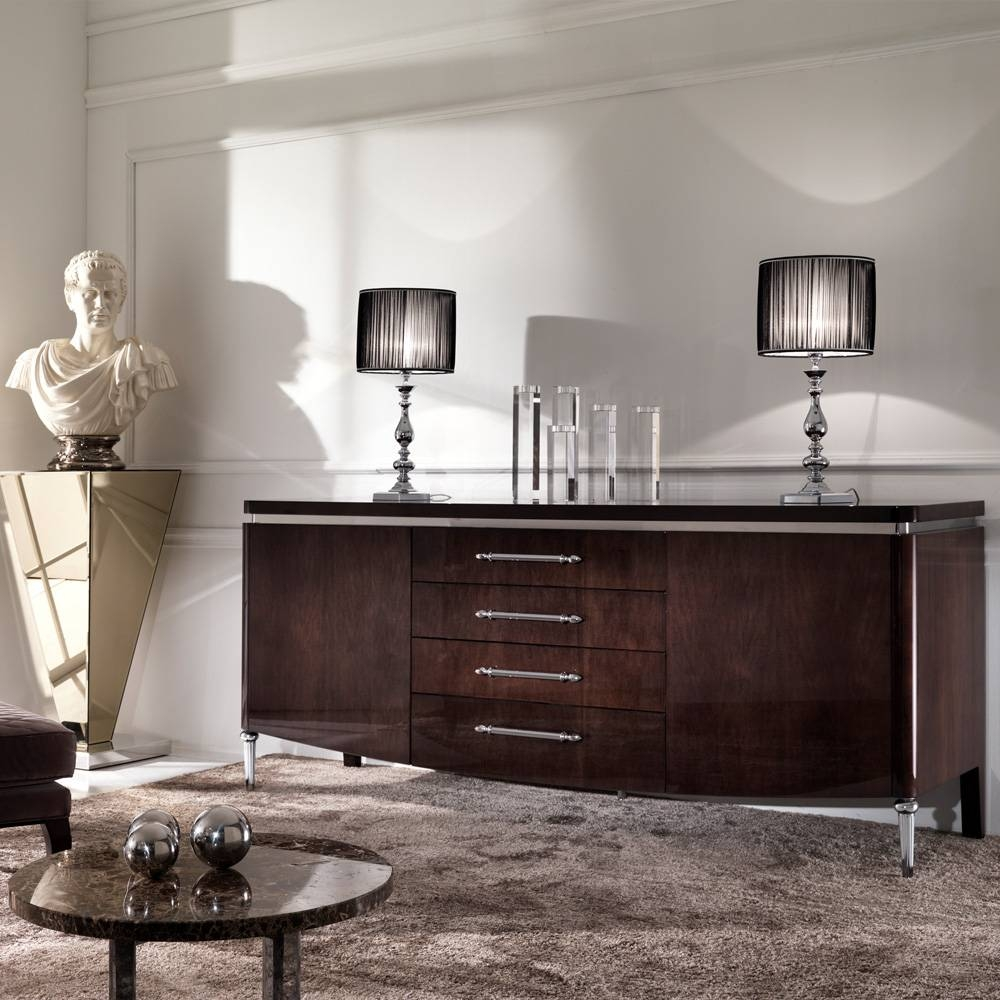 Designer High Gloss Walnut Veneer Buffet | Juliettes Interiors regarding High Gloss Sideboards (Image 10 of 30)