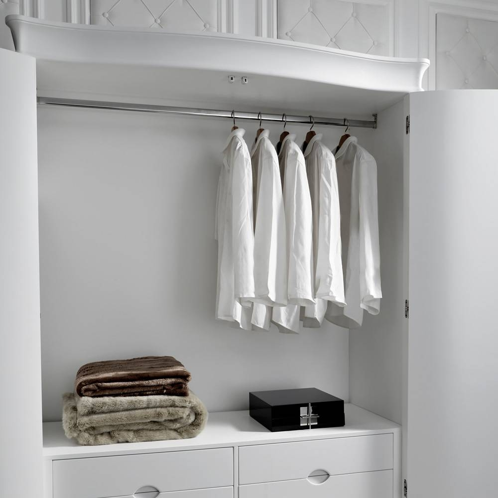 Designer Italian Large White Leather 2 Door Wardrobe | Juliettes regarding 4 Door White Wardrobes (Image 5 of 15)