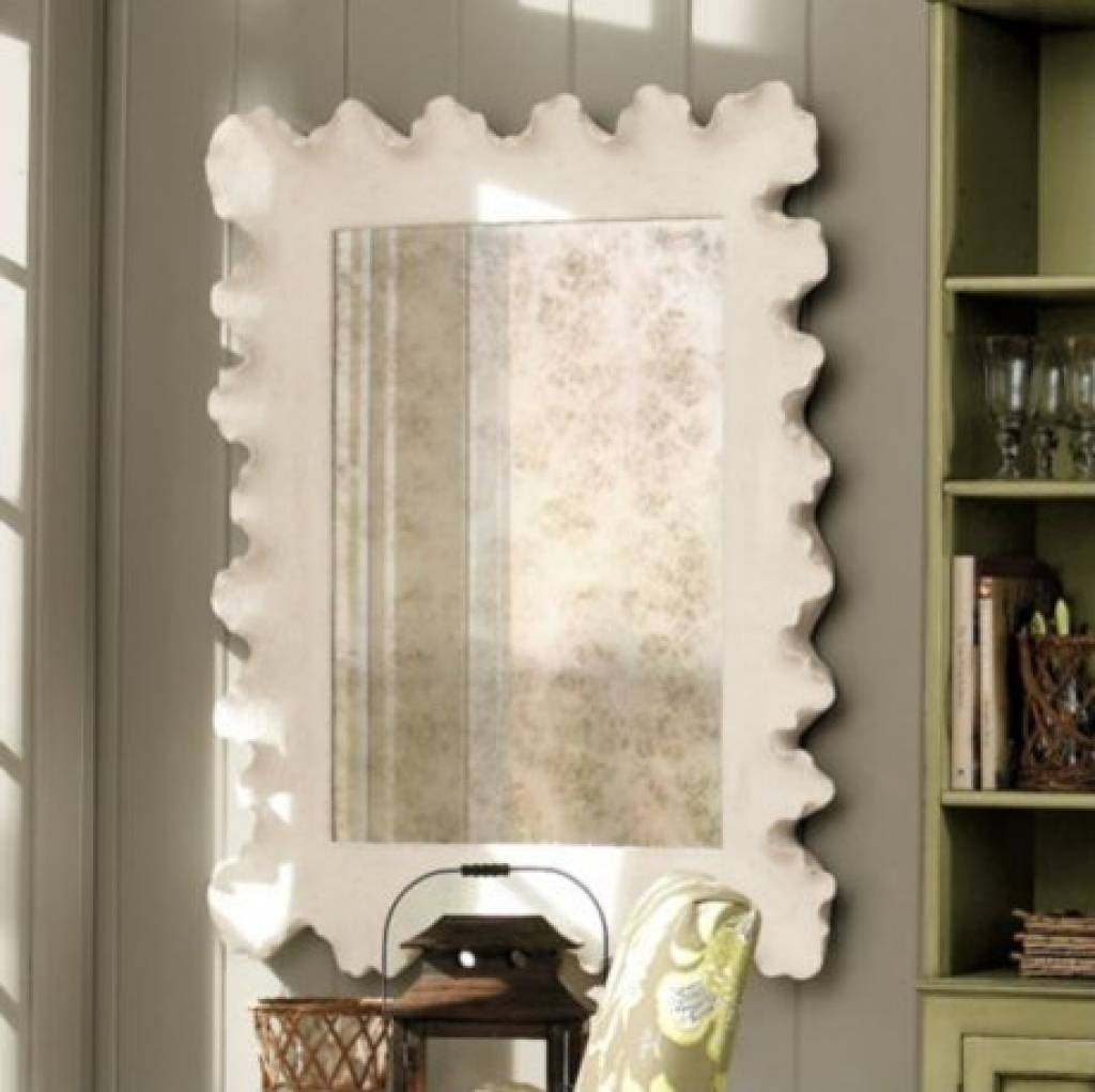 Designer Wall Mirror White Abstract Mirror Contemporary Wall inside Contemporary Wall Mirrors (Image 14 of 25)