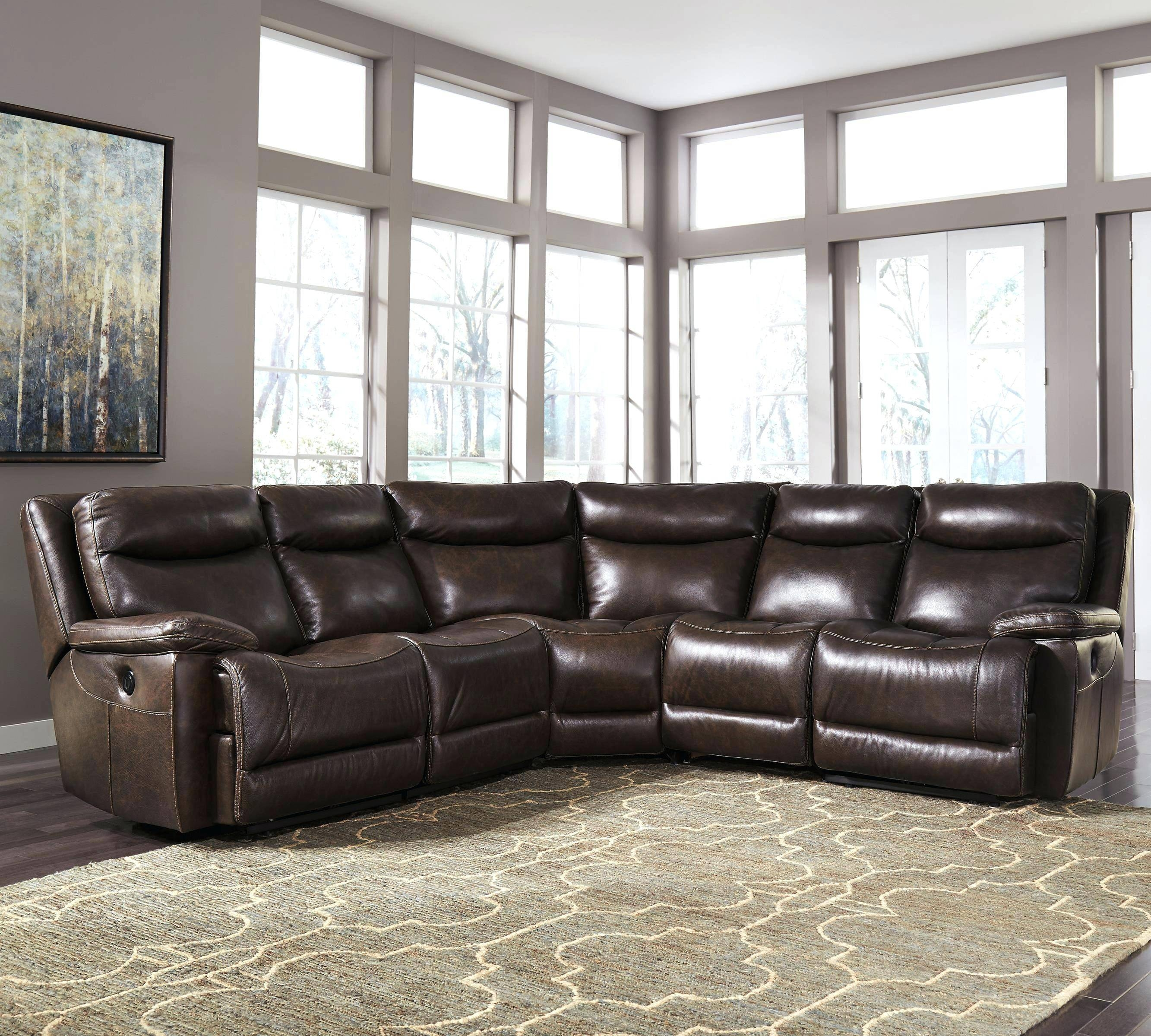 Destin Leather 5 Piece Sectional Sofa With 3 Power Recliners with 6 Piece Leather Sectional Sofa (Image 15 of 30)
