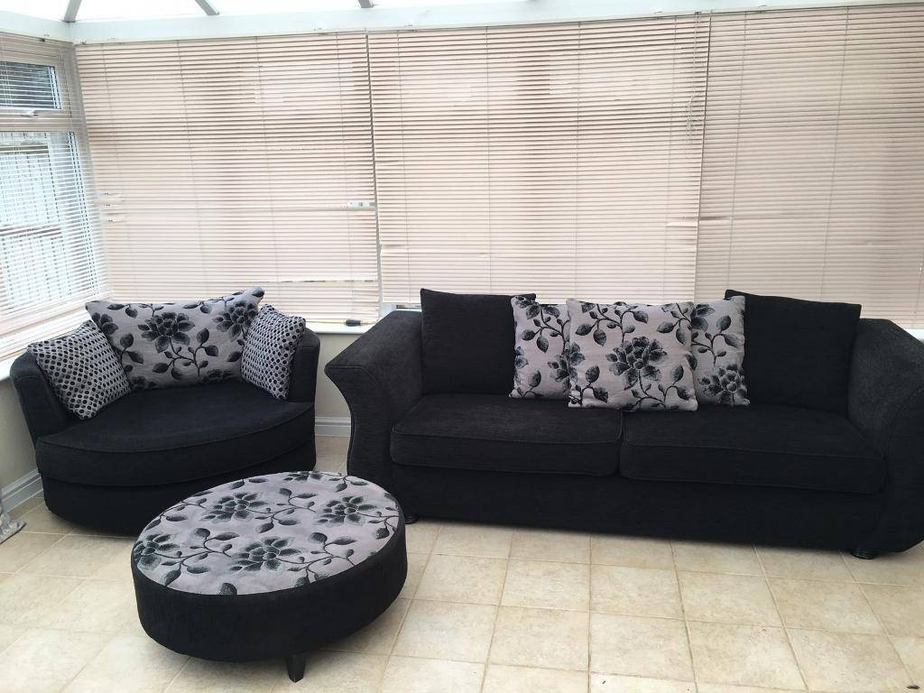 Dfs 4 Seater Sofa, Swivel/cuddle Chair And Pouffe | In Bicester With 3 Seater Sofa And Cuddle Chairs (View 8 of 30)