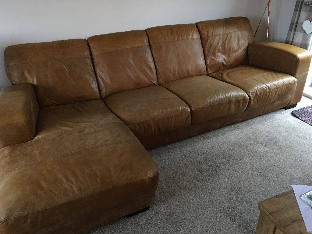 Dfs Caesar 4 Seater Leather Chaise End Sofa | In Reddish for 4 Seat Leather Sofas (Image 9 of 30)