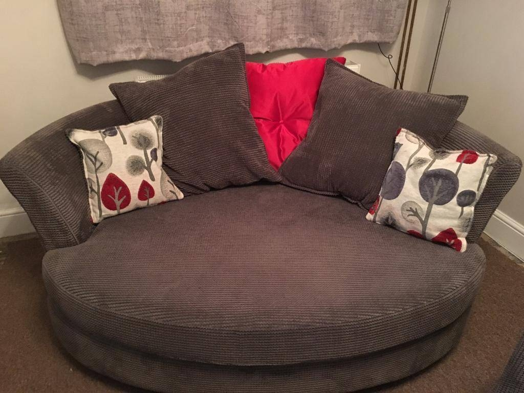 Dfs Grey/charcoal Fabric 3 Seater Sofa & Cuddle Chair | In Didcot With Regard To 3 Seater Sofa And Cuddle Chairs (View 15 of 30)