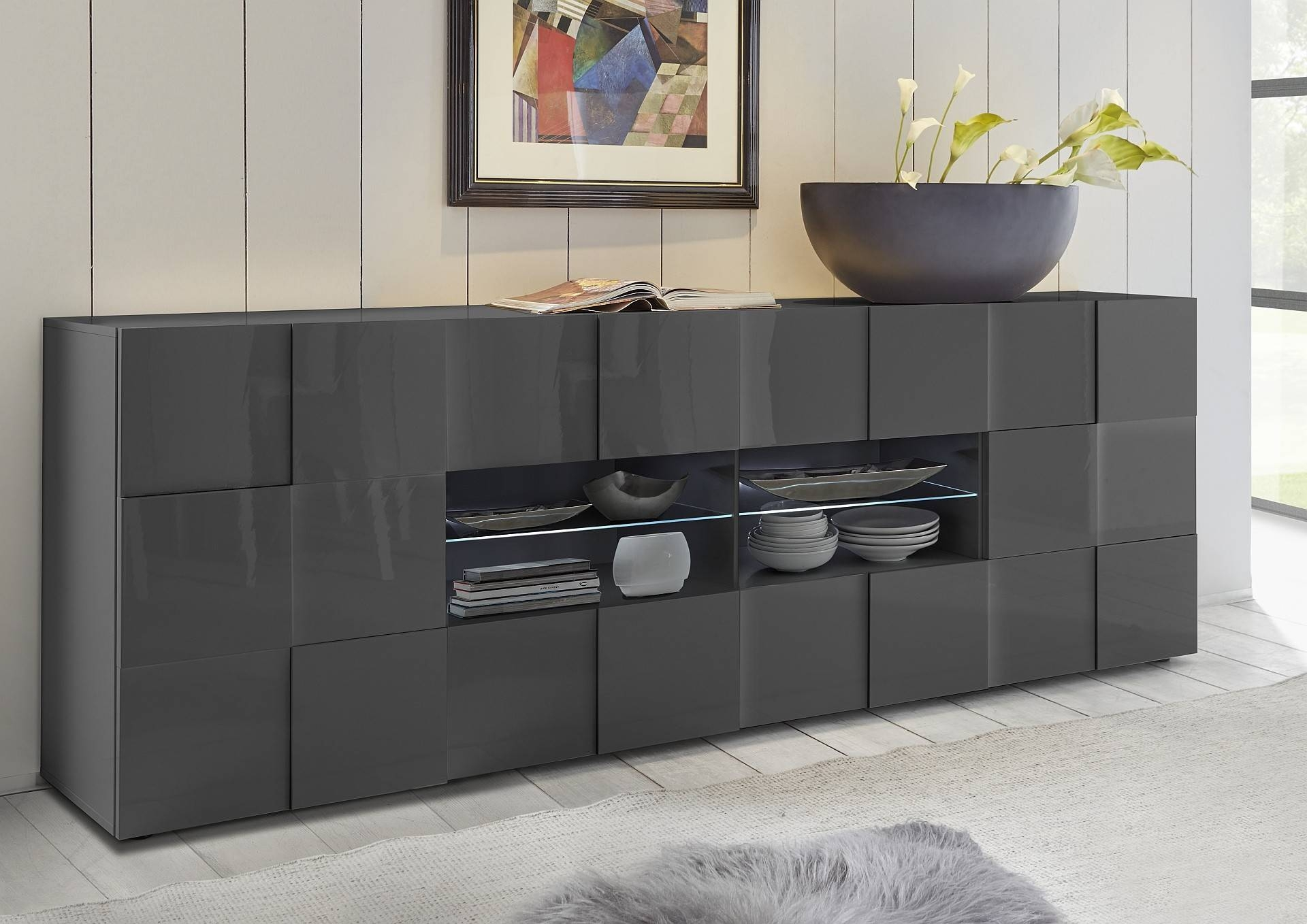 Diana 241Cm - Grey Gloss Sideboard With Led Lights - Sideboards inside Grey Gloss Sideboards (Image 5 of 30)