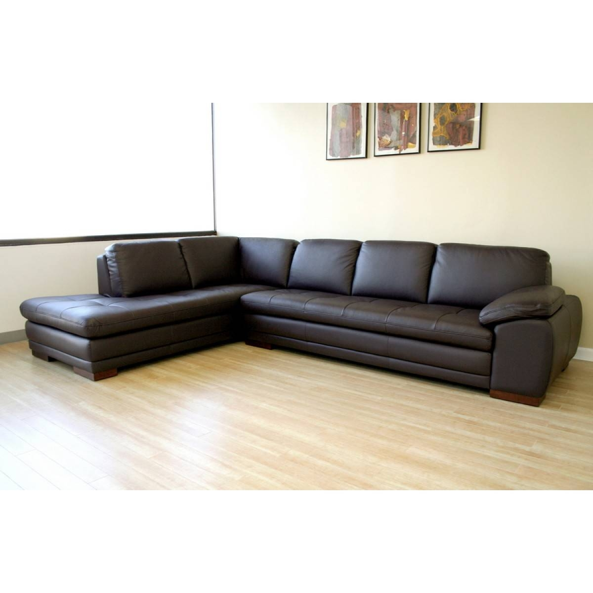 Diana Dark Brown Sofa/chaise Sectional Reverse | See White within Diana Dark Brown Leather Sectional Sofa Set (Image 22 of 30)