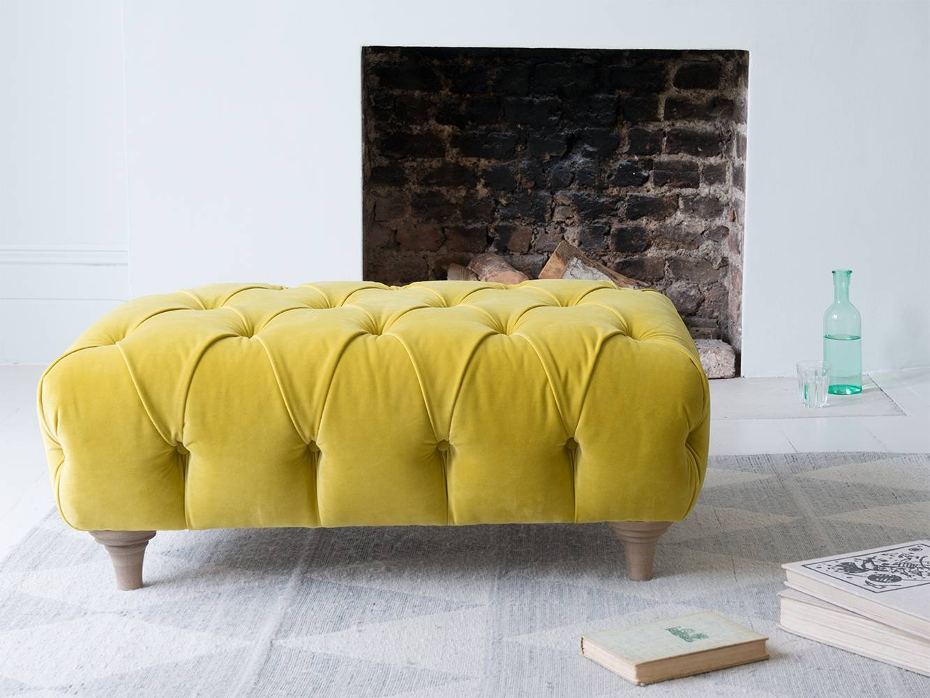 Dimple Footstool | Chesterfield Footstool | Loaf inside Velvet Footstool (Image 18 of 30)