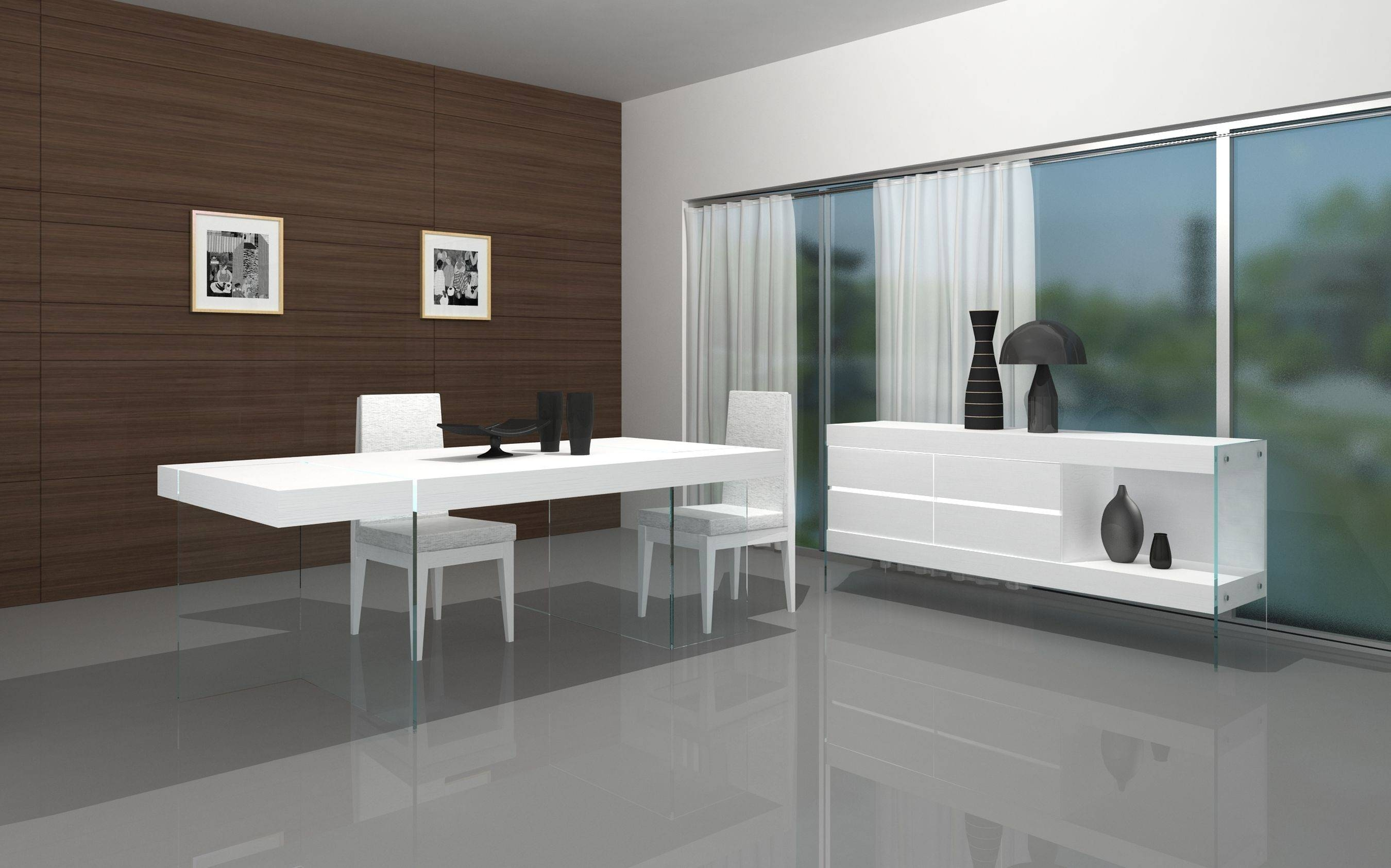 Dining Room ~ White Modern 2017 Dining Table With Glass Base regarding Glass Sideboards For Dining Room (Image 6 of 30)