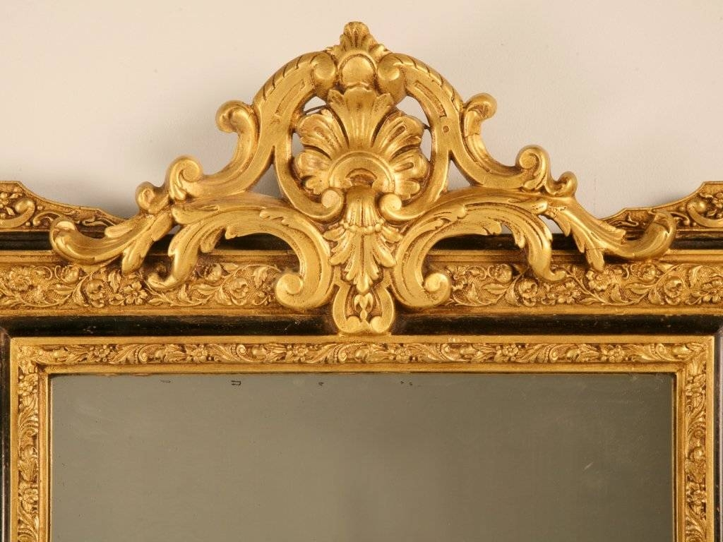 Distinctive Antique French Louis Xvi Gilt Mirror W/ebony Accents with Antique Gilt Mirrors (Image 19 of 25)