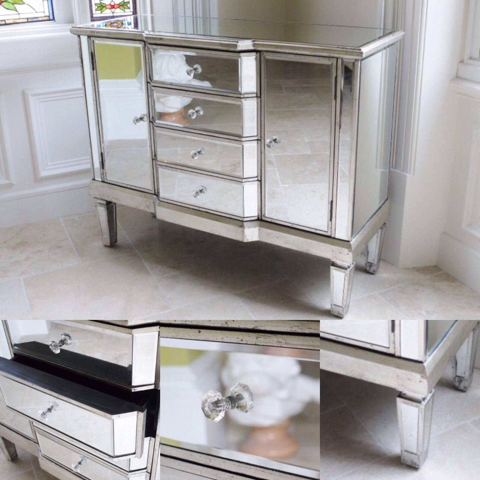 Distressed Antique Silver Venetian Mirrored Sideboard Chest pertaining to Venetian Mirrored Sideboards (Image 3 of 30)