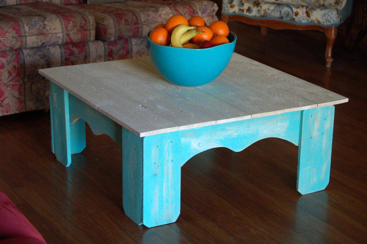 Distressed Blue Coffee Table | Coffee Table Design Ideas with Blue Coffee Tables (Image 20 of 30)
