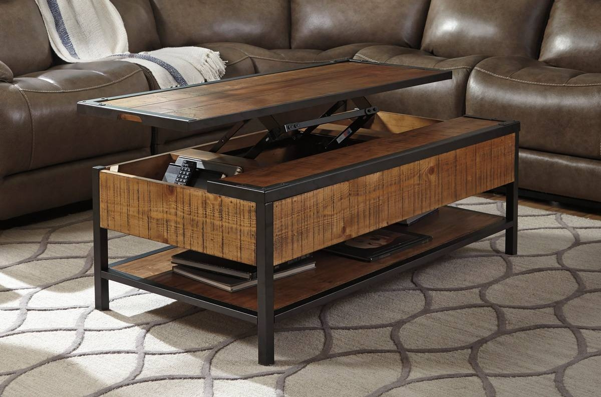 Distressed Natural Wood Lift Top Coffee Table - Caravana Furniture for Lift Coffee Tables (Image 8 of 30)
