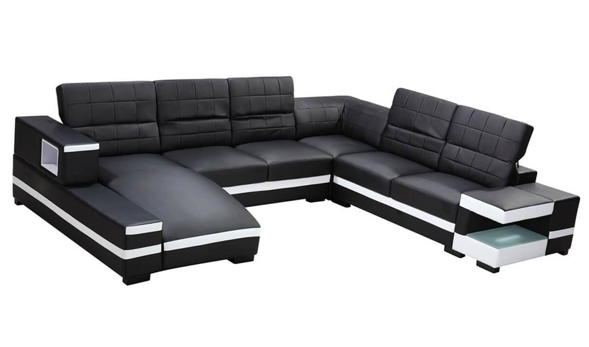 Divani Casa 1201 Modern Bonded Leather Sectional Sofa In Black in Black and White Sectional Sofa (Image 9 of 30)