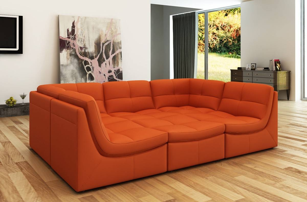 Divani Casa 207 Modern Orange Bonded Leather Sectional Sofa regarding Orange Sectional Sofa (Image 16 of 30)