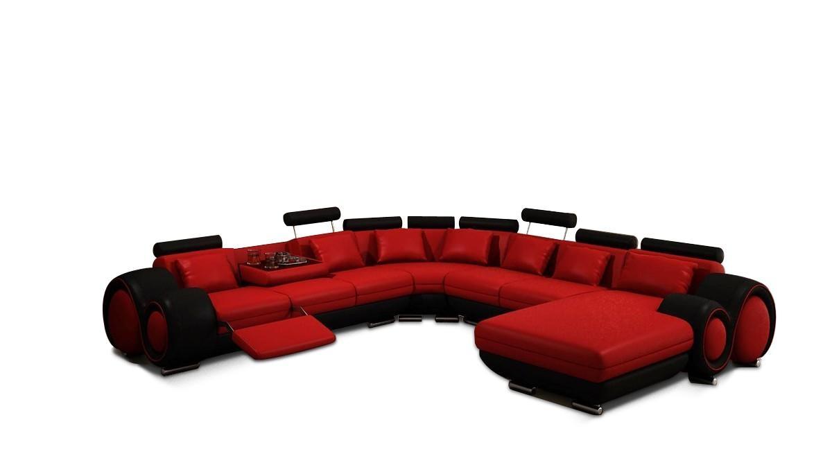 Divani Casa 4084 Contemporary Red And Black Sectional Sofa within Red Black Sectional Sofa (Image 11 of 30)