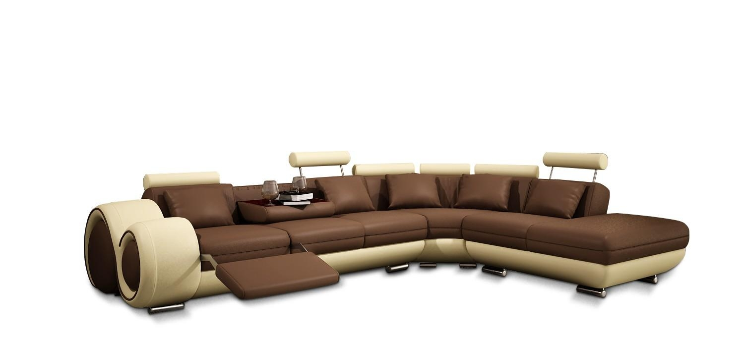 Divani Casa 4086 Modern Bonded Leather Sectional Sofa With Recliners in Sofa Chair Recliner (Image 8 of 30)