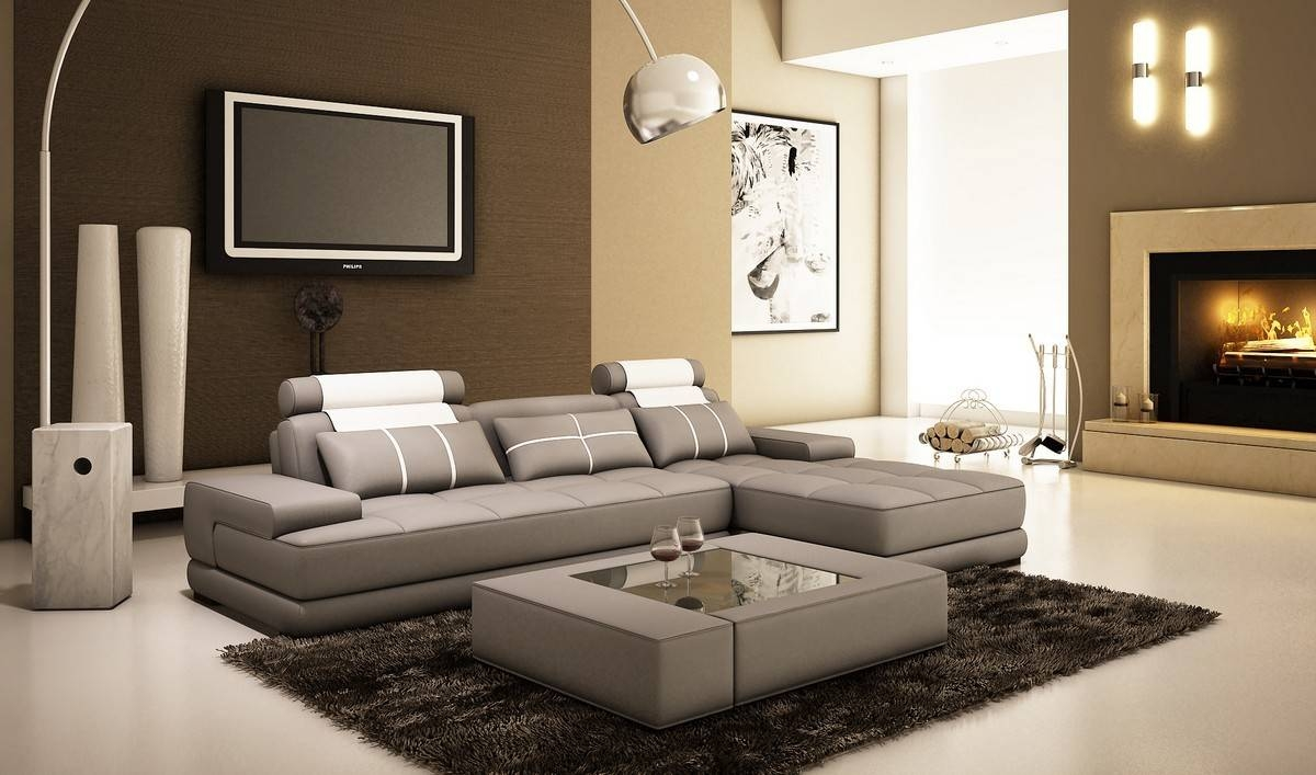 Divani Casa 5005A Mini Modern Grey And White Bonded Leather within Houston Sectional Sofa (Image 5 of 25)