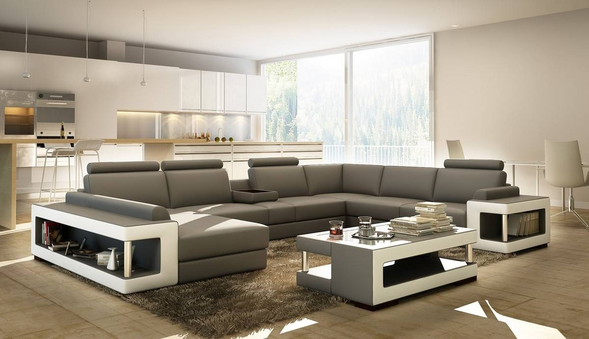 Divani Casa 5080 Grey And White Leather Sectional Sofa W Coffee Table pertaining to Coffee Table for Sectional Sofa (Image 14 of 30)