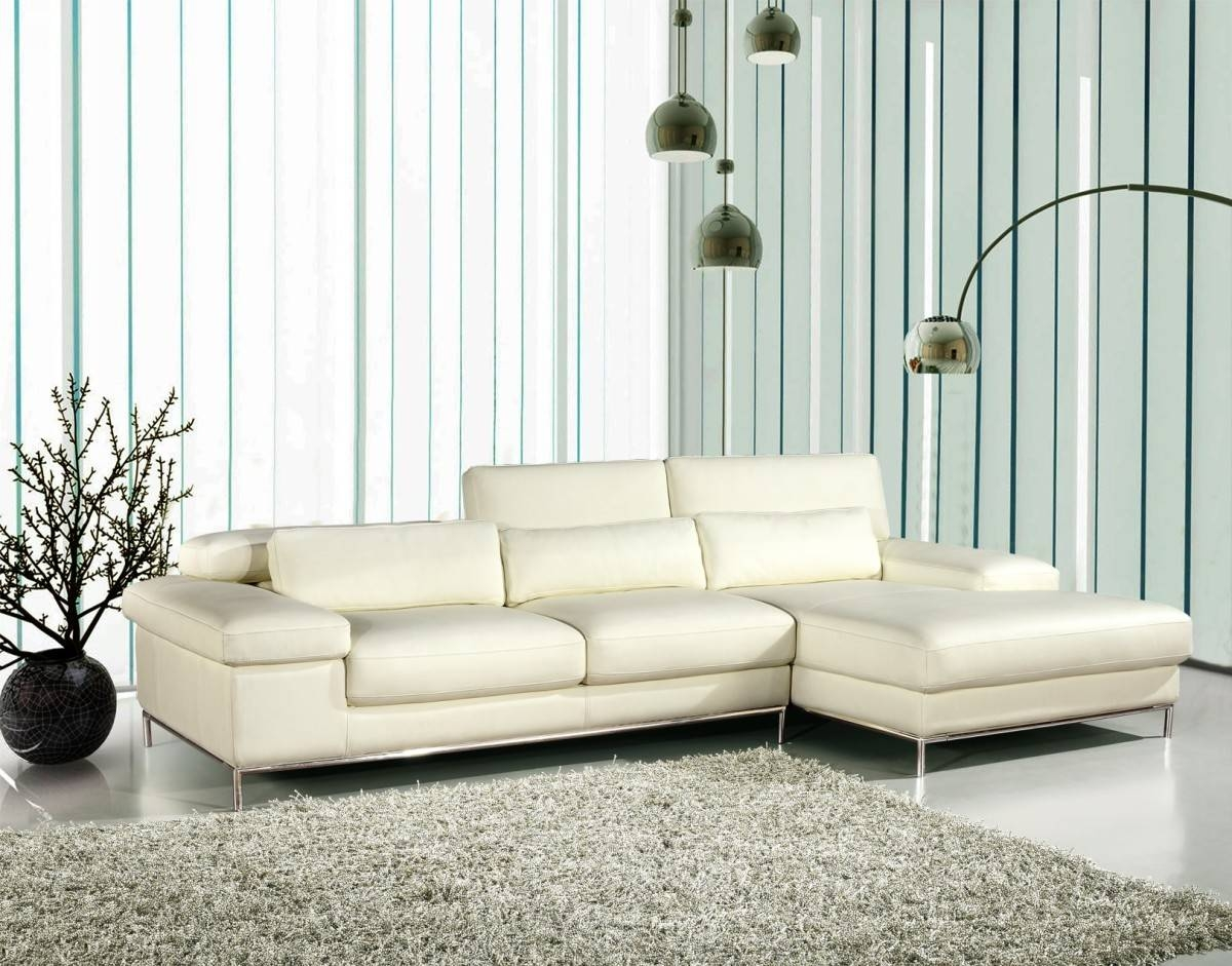 Divani Casa 681 - White Leather L Shape Sectional Sofa - Special pertaining to Leather L Shaped Sectional Sofas (Image 7 of 30)