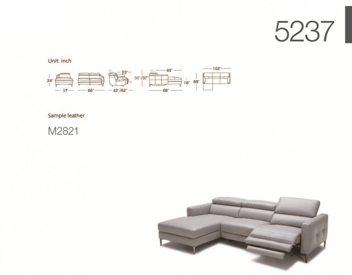 Divani Casa Booth Modern Light Grey Leather Sectional Sofa W intended for Sectional Sofas With Electric Recliners (Image 5 of 30)