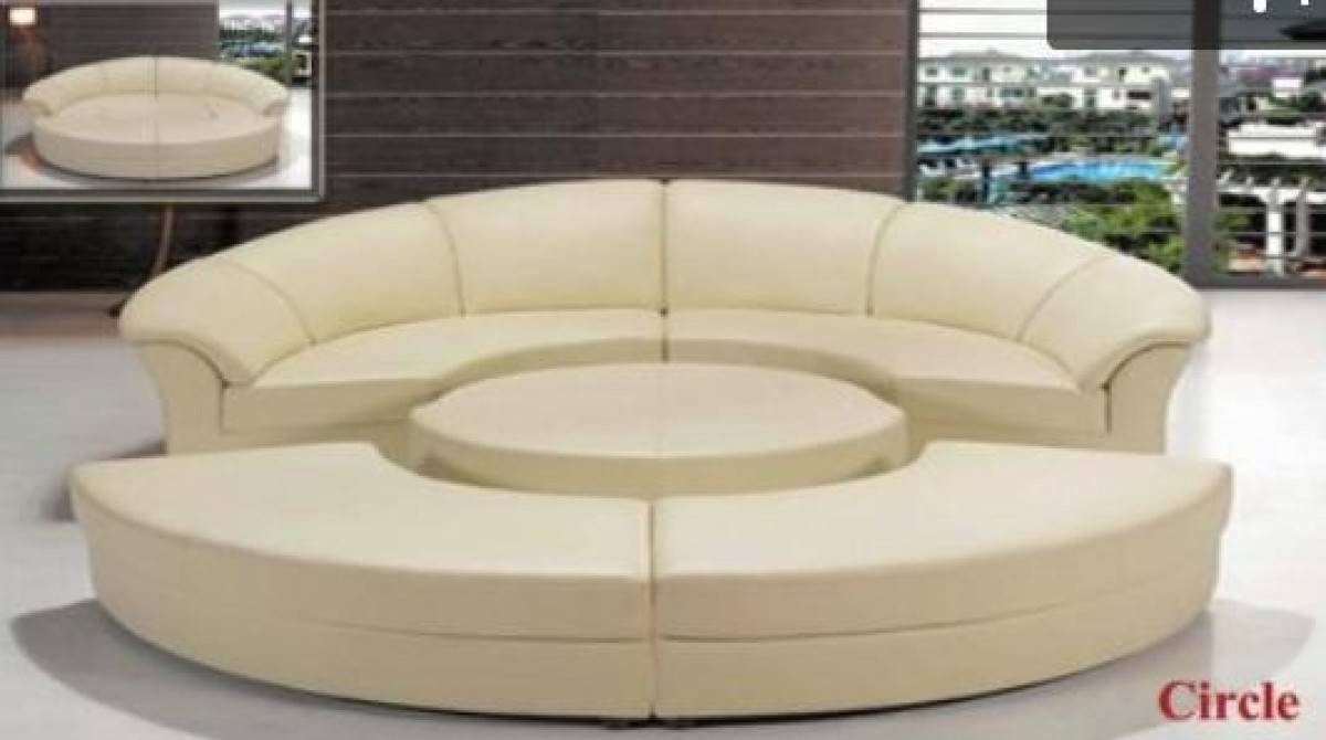 Divani Casa Circle – Modern Leather Circular Sectional 5 Piece For Circle Sofas (View 12 of 25)