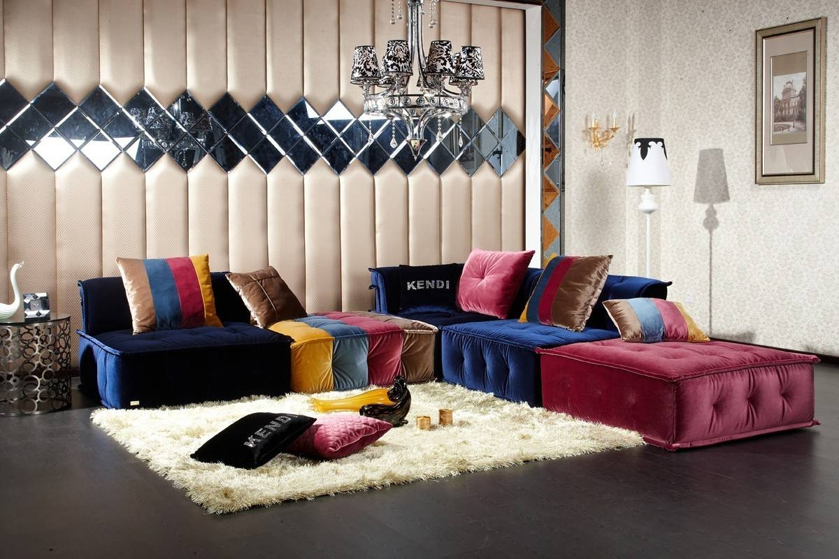 Divani Casa Dubai - Contemporary Fabric Sectional Sofa with Colorful Sectional Sofas (Image 10 of 30)