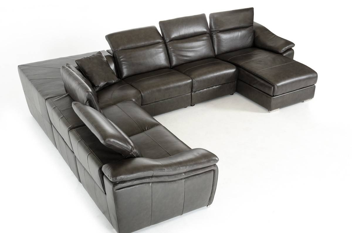 Divani Casa Jasper Modern Dark Grey Leather Sectional Sofa intended for Gray Leather Sectional Sofas (Image 9 of 30)
