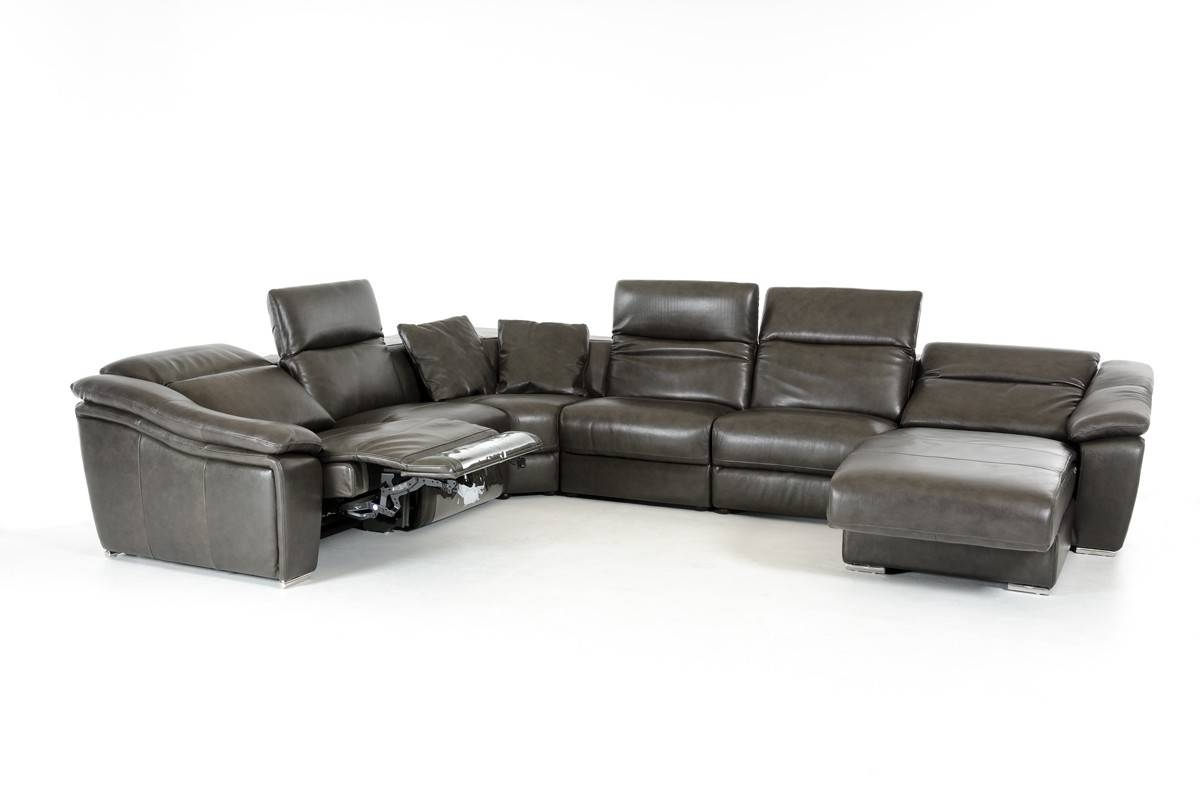 Divani Casa Jasper Modern Dark Grey Leather Sectional Sofa with Gray Leather Sectional Sofas (Image 10 of 30)