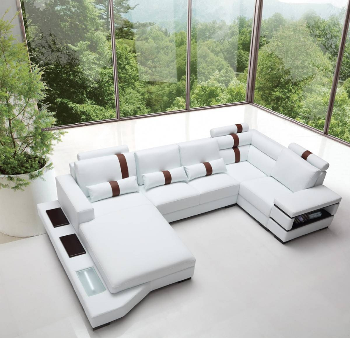 Divani Casa Massimo - Contemporary Bonded Leather Sectional Sofa with Sofas With Lights (Image 9 of 30)