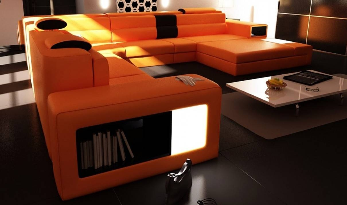 Divani Casa Polaris Contemporary Bonded Leather Sectional Sofa In With Regard To Orange Sectional Sofa (View 17 of 30)