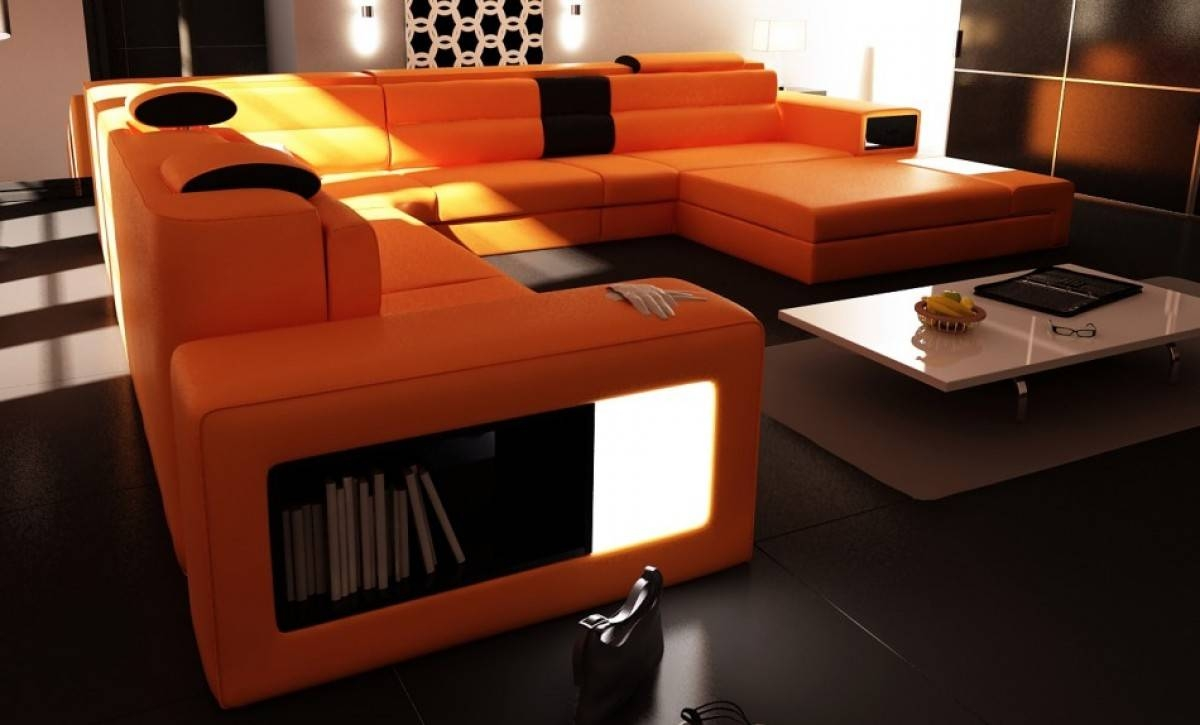 Divani Casa Polaris - Contemporary Leather Sectional Sofa With Lights for Sofas With Lights (Image 10 of 30)