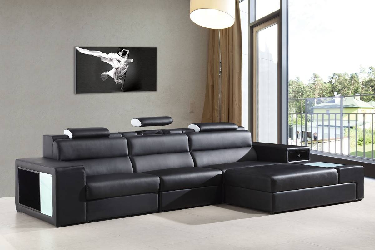 Divani Casa Polaris Mini - Contemporary Bonded Leather Sectional within Mini Sectional Sofas (Image 5 of 30)