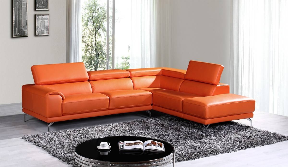 Divani Casa Wisteria Modern Orange Leather Sectional Sofa W/ Right with Orange Sectional Sofa (Image 20 of 30)