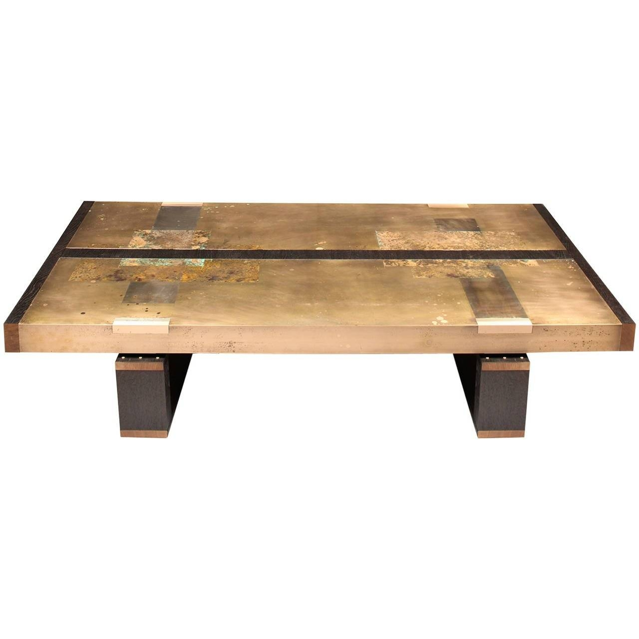 "Divided Lands"" Coffee Table In Etched Bronze And Charred Oak throughout Bronze Coffee Tables (Image 14 of 30)"