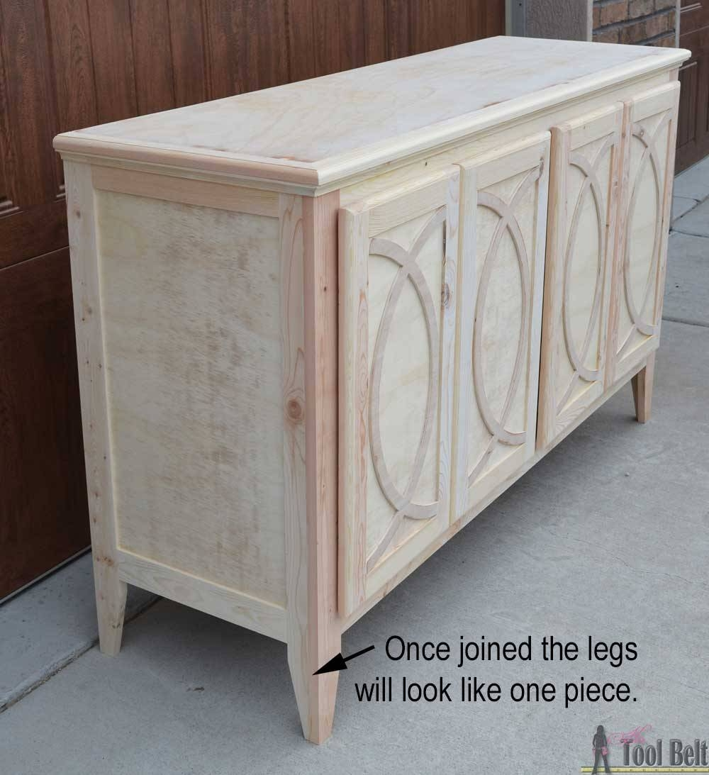 Diy Buffet-Sideboard With Circle Trim Doors - Her Tool Belt intended for Unfinished Sideboards (Image 6 of 30)