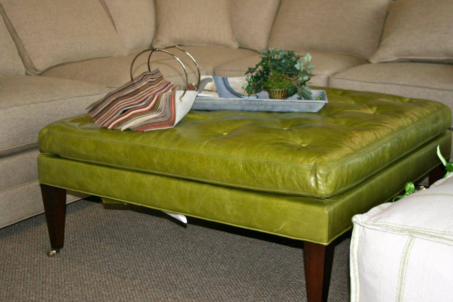 Diy Fabric Coffee Table Ottoman : Bed & Shower - Contemporary within Green Ottoman Coffee Tables (Image 8 of 30)