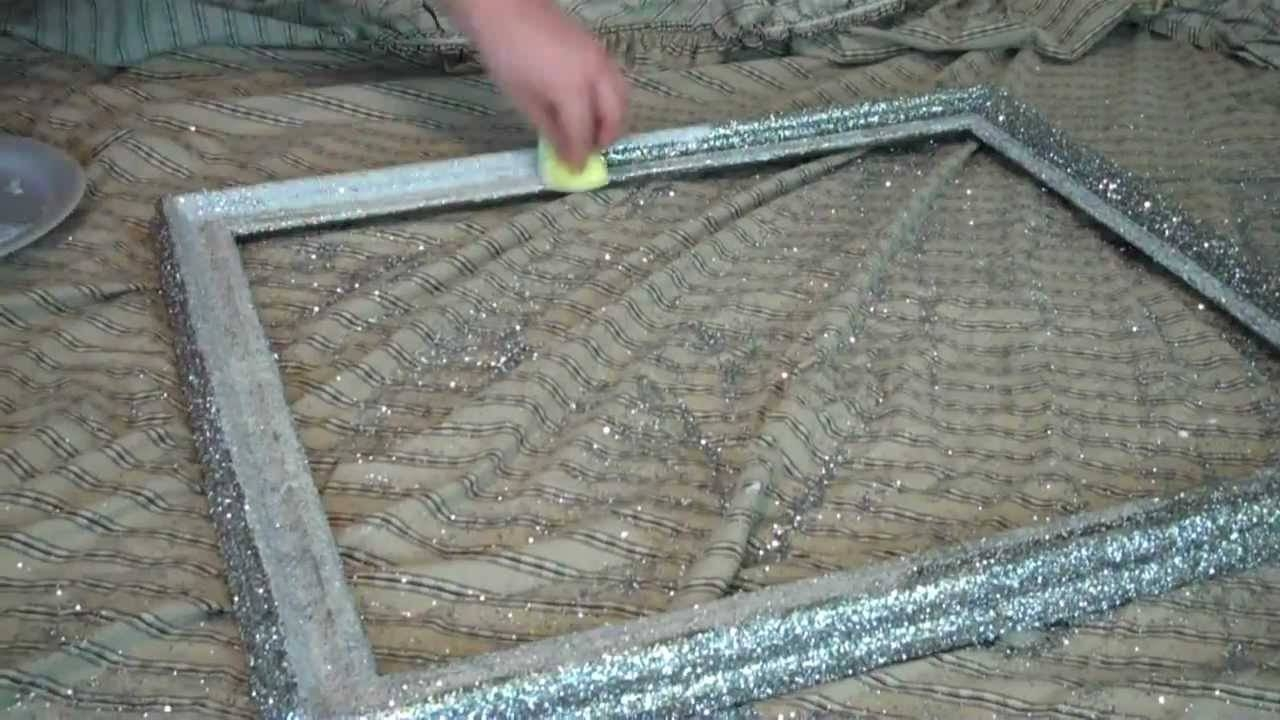 Diy Glitter Frame - Youtube within Silver Glitter Mirrors (Image 10 of 25)