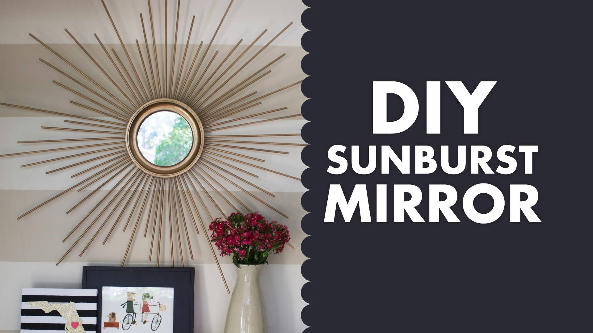 Diy Gold Mid Century Modern Sunburst Mirror – Youtube In Large Sun Shaped Mirrors (View 7 of 25)