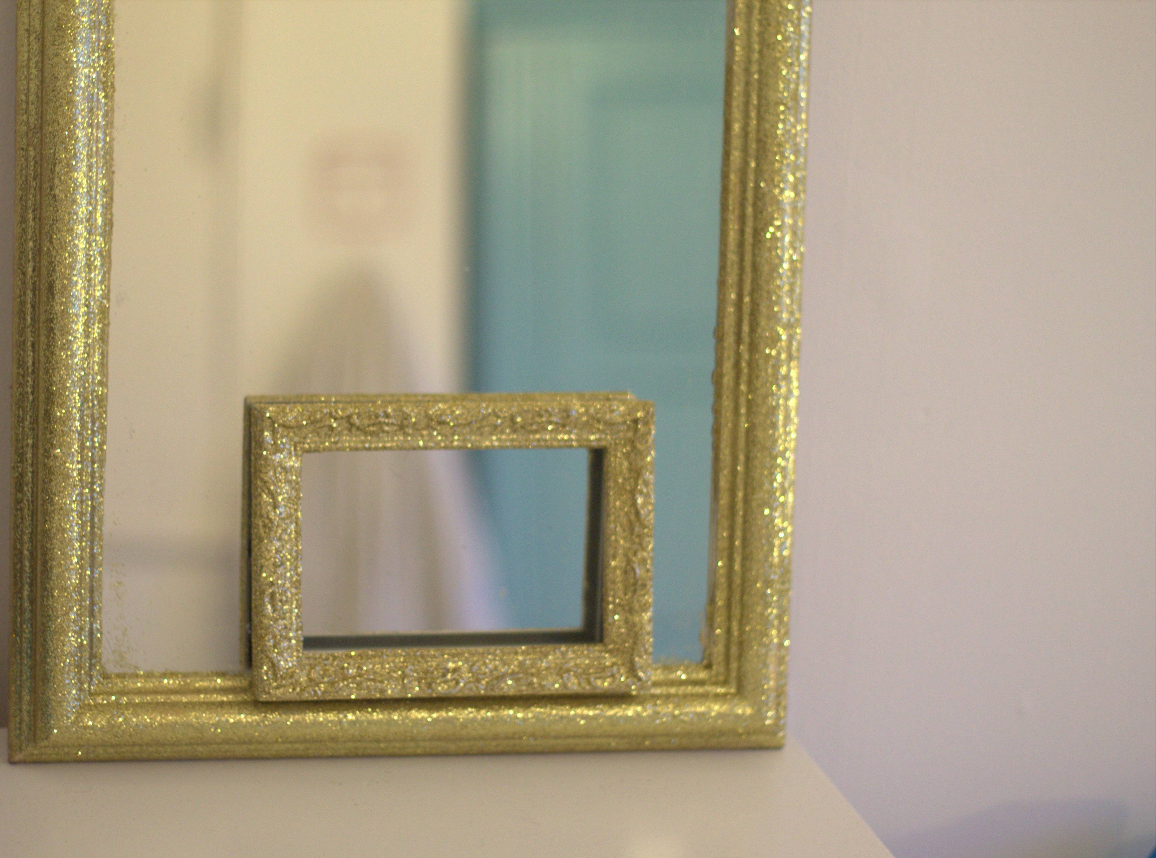 Diy Mirror Frame ~ Peeinn in Silver Glitter Mirrors (Image 11 of 25)