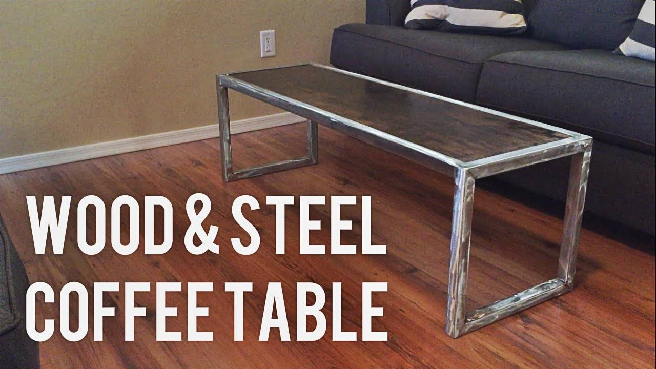 Diy Modern Coffee Table // Wood & Steel - Youtube for Wood Modern Coffee Tables (Image 13 of 30)