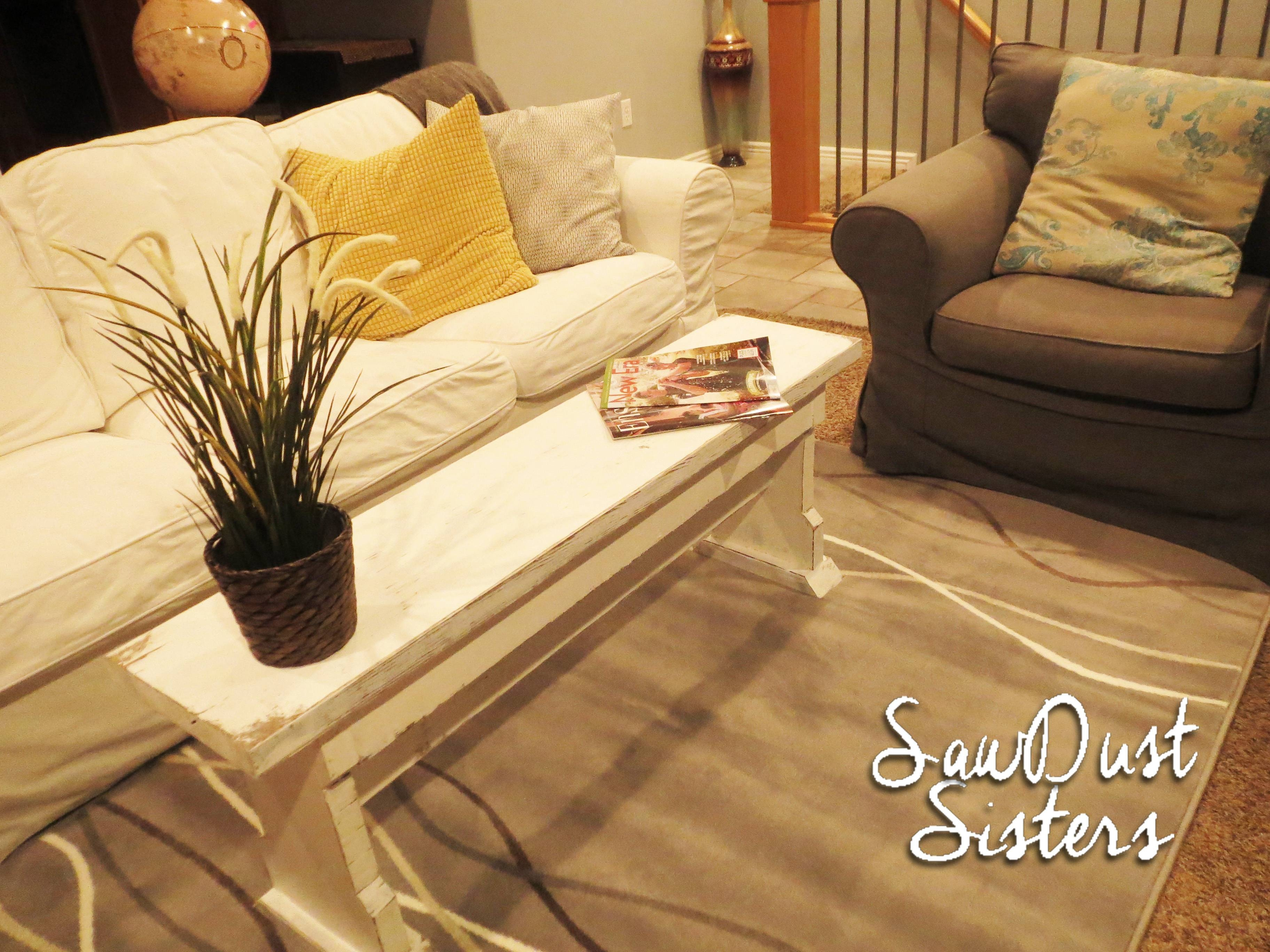 Diy Narrow Coffee Table Or Country Bench Tutorial - Sawdust Sisters inside Narrow Coffee Tables (Image 8 of 30)