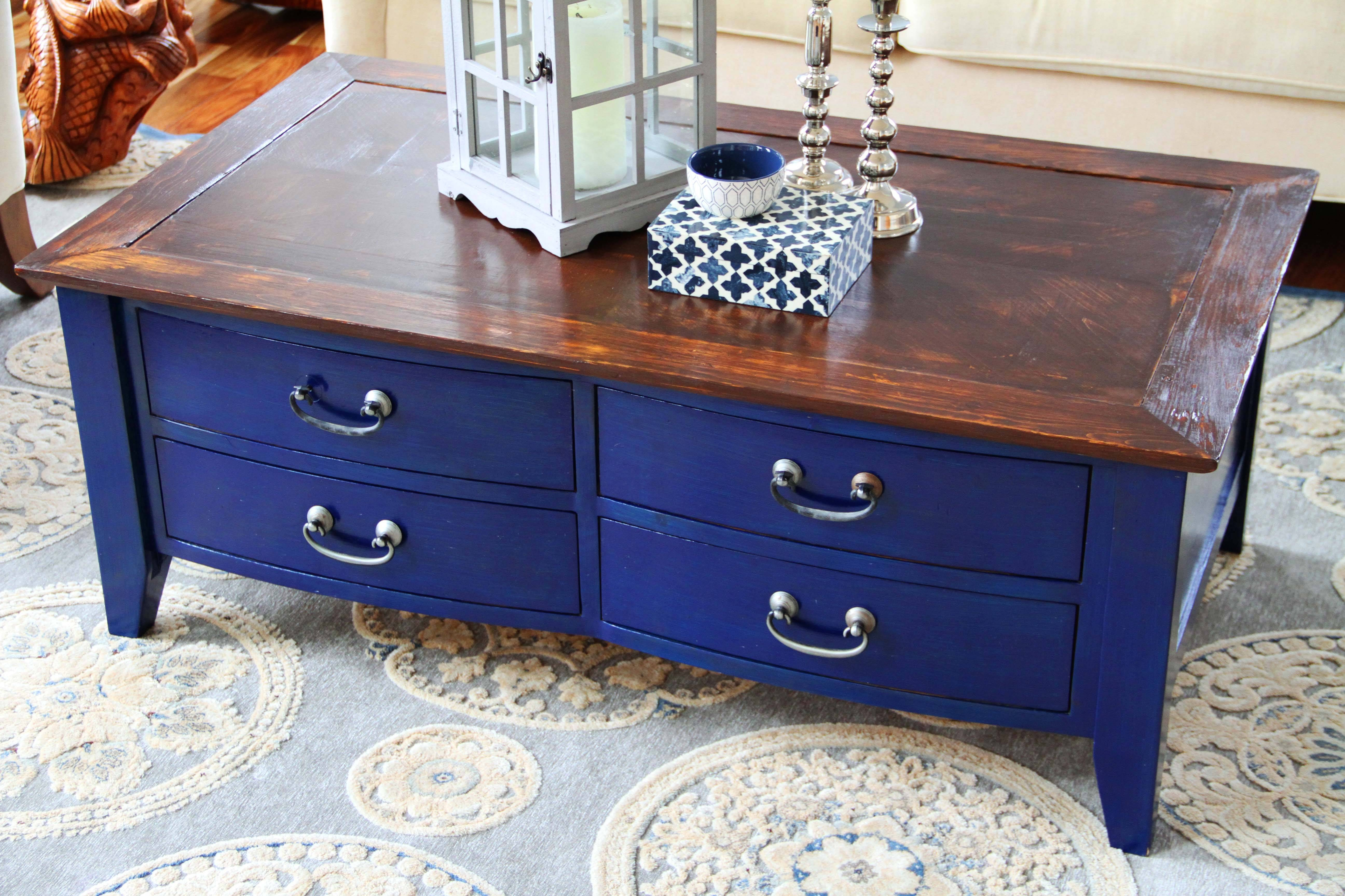 Diy Navy Coffee Table Refinishing | Put That On Your Blog intended for Blue Coffee Tables (Image 21 of 30)