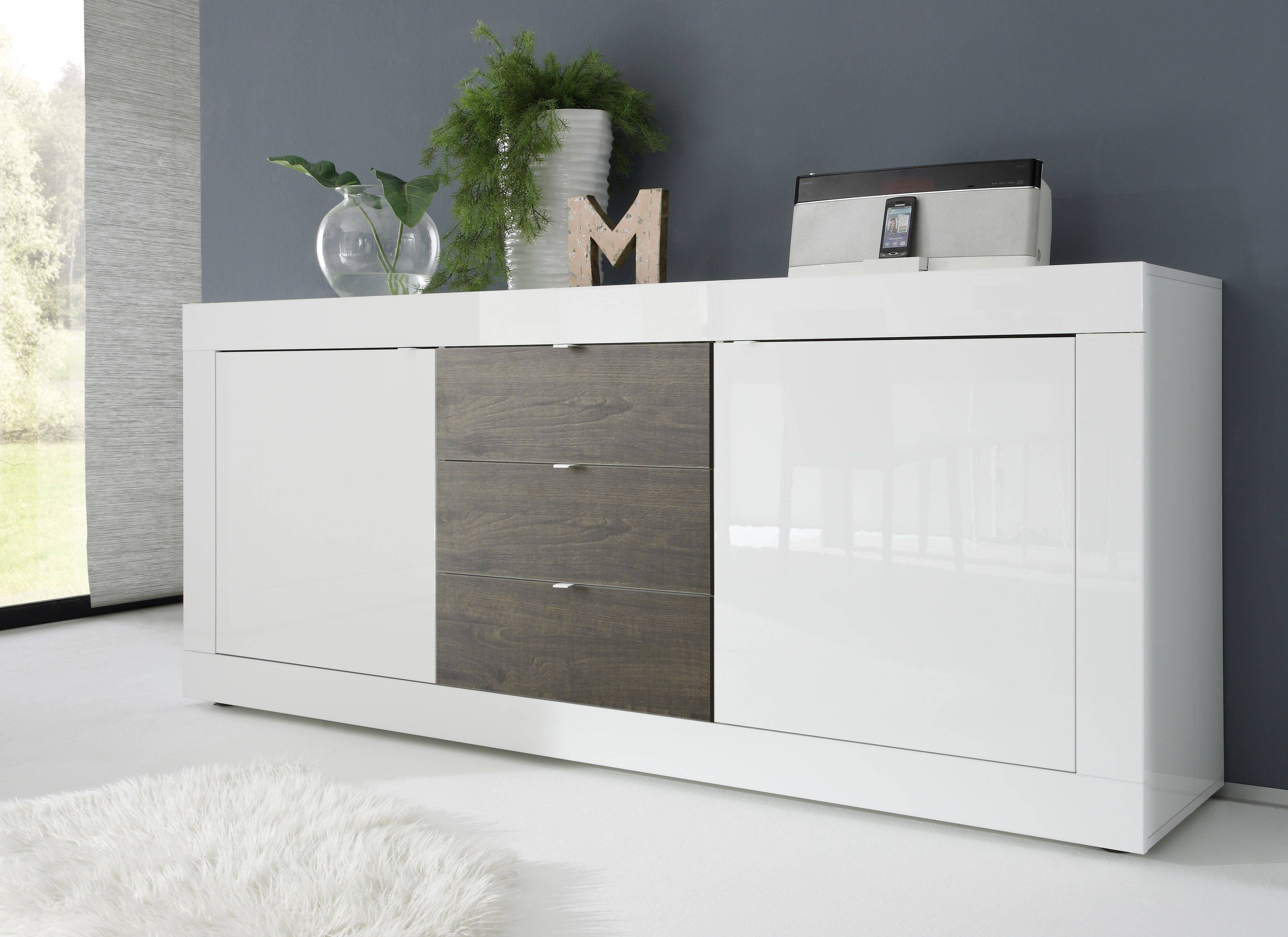 Dolcevita Three Door Sideboard In White Gloss - Sideboards - Sena inside Gloss White Sideboards (Image 12 of 30)