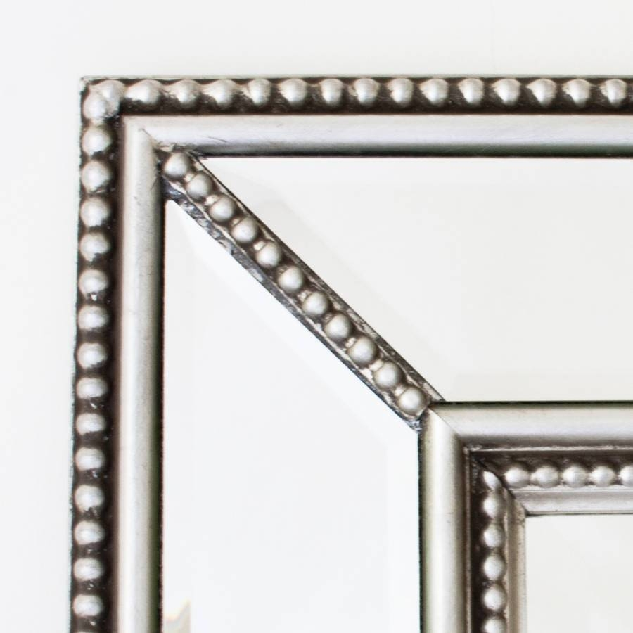Double Beaded Classic Silver Mirrordecorative Mirrors Online intended for Silver Bevelled Mirrors (Image 14 of 25)