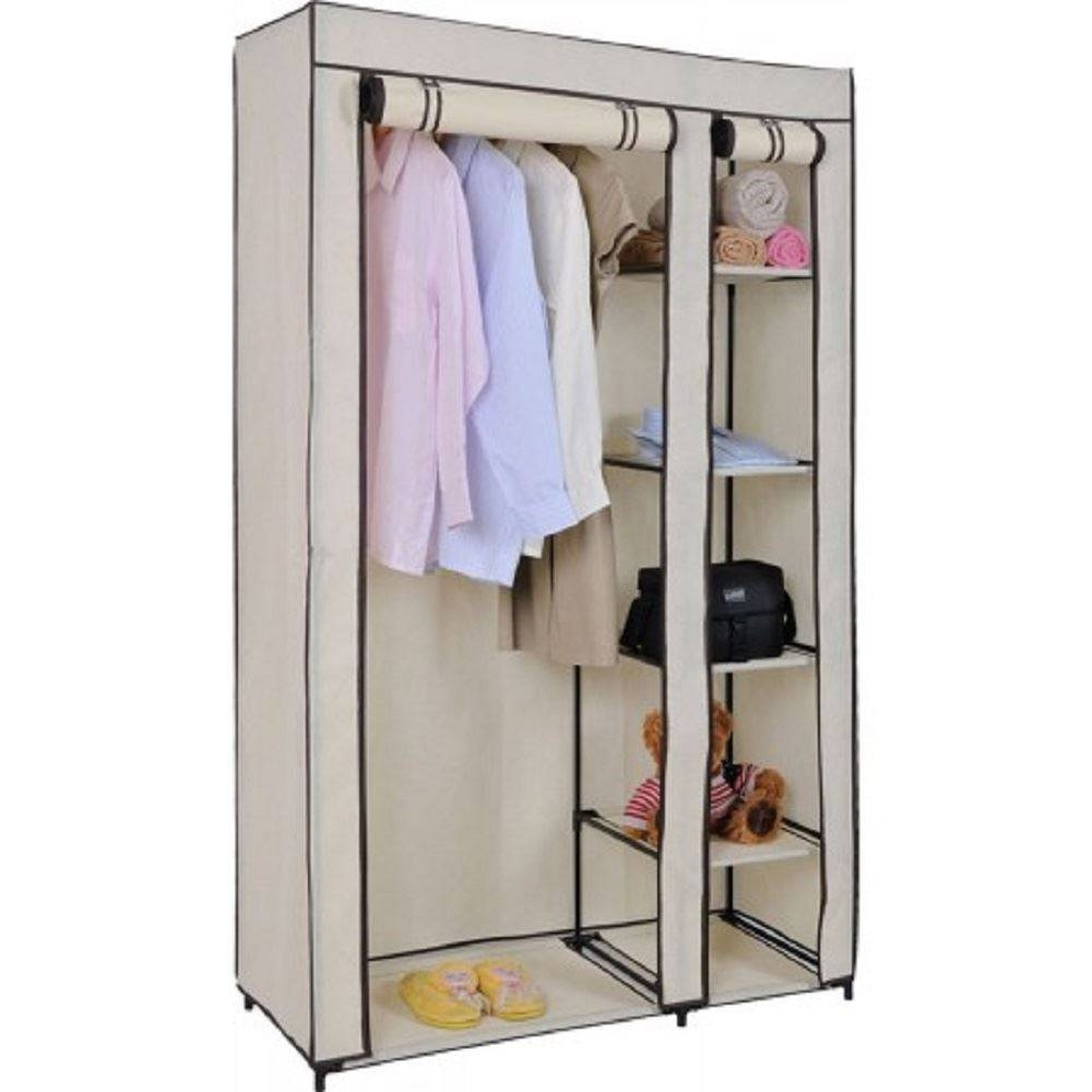 Double Canvas Blue Cream Purple Black Clothes Wardrobe With Pertaining To Double Hanging Rail Wardrobes (View 7 of 30)