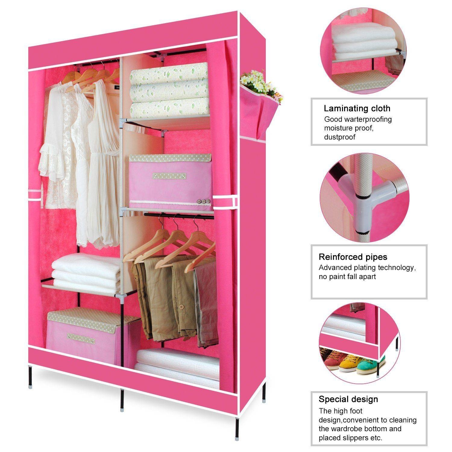 Double Canvas Wardrobe Clothing Hanging Rail Storage Closet in Double Canvas Wardrobe Rail Clothes Storage Cupboard (Image 12 of 30)