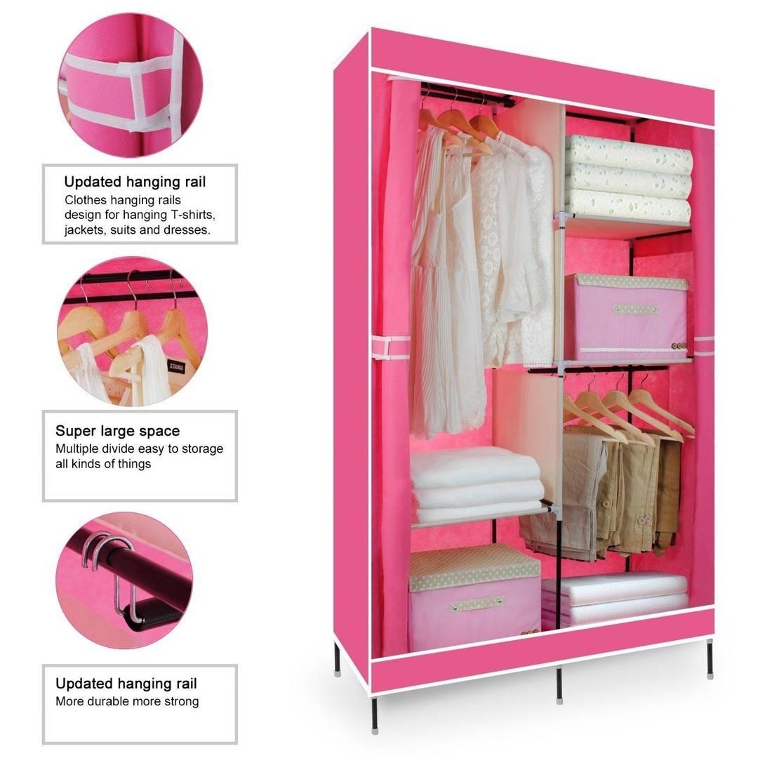 Double Canvas Wardrobe Clothing Hanging Rail Storage Closet throughout Double Rail Canvas Wardrobes (Image 8 of 30)