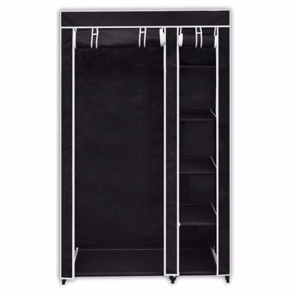 Double Canvas Wardrobe Cupboard Organiser Clothes Hanging Rail intended for Double Canvas Wardrobe Rail Clothes Storage Cupboard (Image 14 of 30)