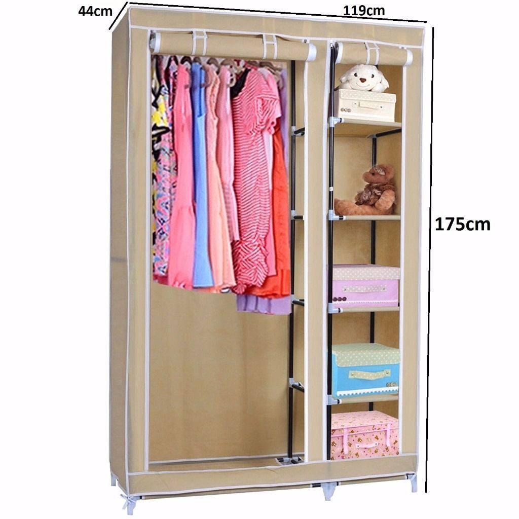 Double Canvas Wardrobe Rail Clothes Storage Cubpboard Cream ! | In for Double Canvas Wardrobe Rail Clothes Storage Cupboard (Image 15 of 30)